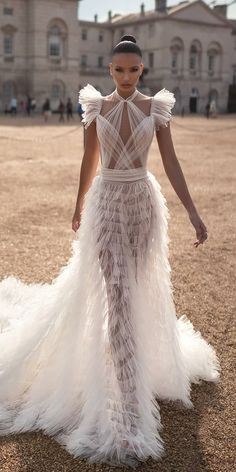 wedding dresses fall 2019 sexy ruffled skirt with cap sleeves lior charchy  Couture Wedding Dresses 58a1f9374cfe