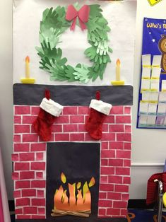 Classroom fireplace with wreath