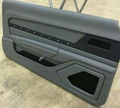Custom built door panels for the 69 camaro grey black billet grommets. Car Interior Upholstery, Automotive Upholstery, Custom Car Interior, Truck Interior, Camaro Interior, Vw Lt, Car Restoration, Wood Router, Panel Doors