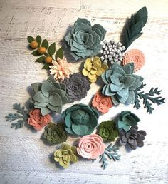 Wool Felt Succulents and Flowers - Colors for flowers: Mediterranean Mist, Babbling Brook, Reets Relish, Lemon-Lime, Moss, Gray, One Shade of Gray, Blue Spruce, Blushing Bride, Pink Grapefruit, Blush Pink Foliage : Moss, Mediterranean Mist, Babbling Brook Quantity per 1 set: The