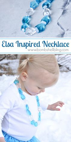 Elsa Inspired Necklace- this is a great gift for kids who like frozen and a great easy necklace to make!