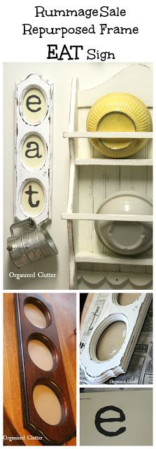 63d83fd8c1a0 Rummage Sale Frame Upcycled Into Kitchen Sign  farmhousekitchen   garagesalemakeover  upcycle  repurposed