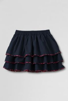 Size 12-14 in Blue and 12-14-16 in Red. Just $6.97! Girls' Woven Tiered Skirt from Lands' End