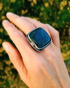 Sterling silver ring with large labradorite stone by Sisters of the Sun®. $155 http://etsy.me/1EdszPb