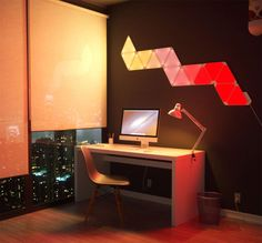The Nanoleaf Light Panels Smarter Kit is a system of modular, interactive lighting panels, that works with both iOS and Android devices. Home Automation System, Smart Home Automation, Nanoleaf Designs, Nanoleaf Aurora, Nanoleaf Lights, Aurora Design, Apple Home, Philips Hue, Neon Lighting