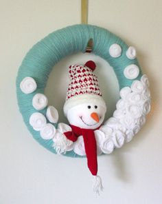Aqua Snowman Wreath Yarn Wreath Large 14 inch by TheBakersDaughter