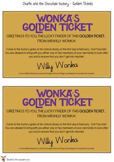 For the part where we have 'Charlie and the Chocolate Factory' we are going to have a golden ticket get pulled out of a chocolate bar. Charlie And The Chocolate Factory Crafts, Wonka Chocolate Factory, Classroom Displays, Classroom Themes, Willy Wonka, Rold Dahl, Roald Dahl Activities, Roald Dahl Day, Chocolates