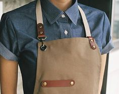 Premium Gift for woman and man Chef Works Handmade Apron Japanese Cross Back - Leaf real cow leather Apron Beige