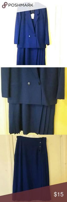 Classic blue For you classic dressers, here is your blue Christian Dior Suit...pleated skirt.  100% pure wool. Get creative! Wear with the jacket or without...pull in some of your own great top ideas. Quality clothing Christian Dior Skirts Midi