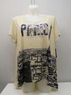 Plus Size 3X Women's Knit Top STYLE&CO. Paris Embellished Beige Asymmetrical Hem #Styleco #KnitTop #Casual