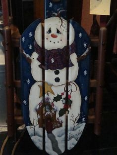 Pumpkin Hollow Primitives: Vintage Sled with Hand Painted Snowman and Gingerbread House