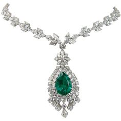 Emerald Diamond Platinum Necklace at 1stdibs ❤ liked on Polyvore featuring jewelry, necklaces, accessories, jewels, emerald jewelry, emerald necklace, emerald diamond necklace, platinum diamond necklace and diamond jewellery