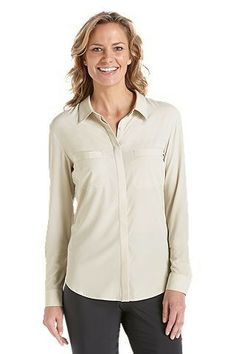 Silky soft, lightweight aire SUNTECT® polyester/spandex blend Concealed front button down placket Front chest welt pockets Slight droptail hemline Roll up sleeve tab with button Rated Protection Factor UPF Upf Clothing, Sun Protective Clothing, Rose Colored Glasses, Roll Up Sleeves, Sun Protection, Leather Jacket, Clothes For Women, Hoodies, Lady