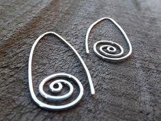 Handmade Jewellery. Sterling Silver Spiral Earrings Modern Spiral Earrings on Etsy by maryannefountain, $26.00
