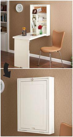 Ten space-saving desks that work great in small living spaces #smallfurniture #spacesavingfurniture Office Wall Cabinets, Office Walls, Cabinet Doors, Corner Desk, Closet Doors, Cupboard Doors