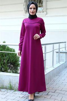 Beyhan Biyeli Tesettür Elbise Mor 1869 Gamis Simple, Dress With Cardigan, The Dress, Office Looks, Mode Hijab, Office Wear, Kaftan, Just In Case, Hijabs