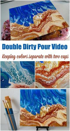 a Double Dirty Pour – at the Beach Double dirty pour video. How to create distinct areas of separate colors when acrylic pouring using two dirty pour cups. Ideal for this ocean and beach acrylic painting. Abstract Art Painting, Art Painting, Abstract Artists, Acrylic Art, Art, Acrylic Pouring Art, Painting Projects