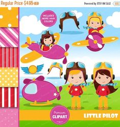 70% OFF SALE Aviator girl clipart birthday party by PremiumClipart