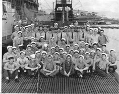 """A picture of the """"Growler"""" crew. My first cousin twice removed, John Abel, was a TM1 (Torpedoman's Mate 1st Class) on board. He is located in the second row, fourth man from the left."""