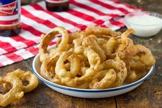 Beer Battered Onion Rings;   http://www.thekitchn.com/recipe-beer-battered-onion-rings-recipes-from-the-kitchn-192658