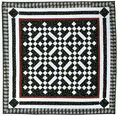 """Diamond Bar, 66"""" x 66"""", by Sue Gilroy. From """"Bold, Black & Beautiful Quilts"""", AQS 2004. Black and white with a dash of red is always in style."""
