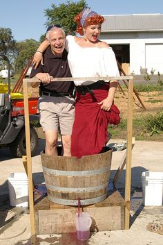 Grape stomping with Lucy at Doukenie's annual Taste of Greece festival held each May.