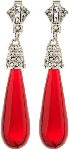 Kenneth Jay Lane Pavedetail Raindrop Earrings Ruby in Red (null) - Lyst Ruby Earrings, Diamond Earrings, Kenneth Jay Lane, Red Fashion, Shades Of Red, Red Wedding, Diamond Are A Girls Best Friend, Ruby Red, My Favorite Color