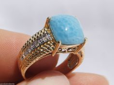 NEW DOMINICAN AA MARBLED SQUARE-SHAPE LARIMAR STONE 14K YELLOW GOLD RING JEWELRY