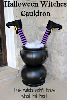 This Halloween Witches Cauldron could possibly be the easiest Halloween decoration I have ever made - True Story!!