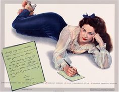 The last in a set of 12 WWII posters featuring the wholesome pinup Margie Stewart. Most Margie war bond posters featured a handwritten letter. In addition to the WWII posters, Stewart appeared in about 20 movies for RKO.