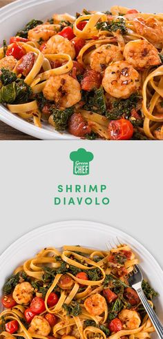 "Italian for ""brother devil,"" fra diavolo is a fiery sauce that plays well with others: especially seafood and pasta. Here, cherry tomatoes, balsamic vinegar, and kale bring bring extra fresh and tangy notes to the sauce. It's tossed with shrimp and almond flour linguine for a paleo feast guaranteed to warm up a crisp night. Get the recipe (and even the ingredients!) at greenchef.com."