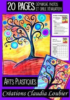 Activité d'arts plastiques pour le 1er et 2e cycle. . Technique mixte, gouache, cire, feutre, collage. En quelques étapes faciles. Description détaillée avec photos pour chacune des étapes. Changeons un peu nos arbres d'automne ! Grille d'évaluation incluse.