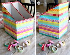 Cereal box organizer using wasabi tape or could use masking tape/papier mache te. - Cereal box organizer using wasabi tape or could use masking tape/papier mache technique - Craft Organization, Craft Storage, Organizing Ideas, Storage Boxes, Recycled Crafts, Diy And Crafts, Cardboard Crafts, Paper Crafts, Cardboard Boxes