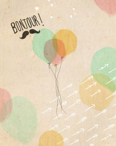 Bonjour Balloons  ink watercolour & by IllustrationsbyEmily, £16.00