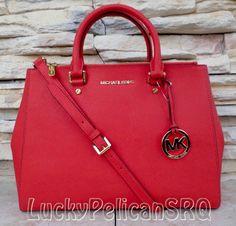 Michael Kors Jet Set Dressy Sutton Large Mandarin Saffiano Satchel Handbag #MichaelKors #Satchel