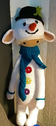 Lupo the lamb with a snowman costume made by Martina N. / crochet pattern by lalylala