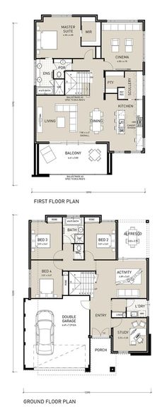Take advantage of the view with this reverse living two storey home design. Featuring a large balcony, that extends from the open plan living, dining and kitchen area and links to a private scullery, Courtyard House Plans, Duplex House Plans, Modern House Plans, Small House Plans, Modern Courtyard, Beach House Plans, Dream House Plans, House Floor Plans, The Plan