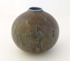 """Vintage Retro : Vintage Retro : a Danish Saxbo spherical stoneware vase with grayish brown haresfur glaze with blue highlights, 1940s-50s , marked ESTN for Eva Staehr Nielsen , no. 118 . All clearly marked under, 3 1/2"""" diameter"""