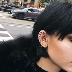 Star Earrings / Diamond Earrings / Diamond Studs / Tiny Star Compass Earrings / North Star Studs / Gift for Her - Fine Jewelry Ideas Bar Stud Earrings, Circle Earrings, Star Earrings, Smiley Piercing, Female Piercings, Unique Piercings, Diamond Studs, Diamond Earrings, Ear Piercings Industrial