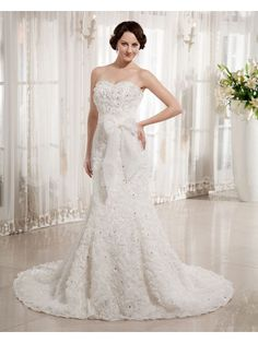 Organza Sweetheart Chapel Train Sheath Wedding Dress with Embroidered and Sash