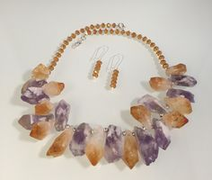 Natural Citrine & Amethyst stone, Citrine crystals, swivel lobster claw.  Earrings, crystals.