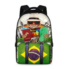 17-inch laptop bag multifunctional backpack school backpack young trend style Male Female Child Cat Dog Fresh Cool Laptop Flag