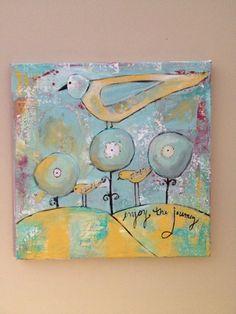Whimsical Bird art 12 x 12  mixed media by sunshinegirldesigns