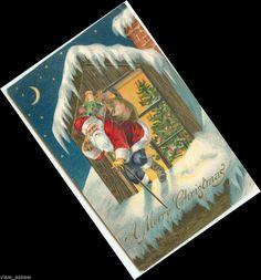 C657 BENT SANTA W/CANE CLIMBS OUT WINDOW ONTO ROOF 1904 UC UDB XMAS POSTCARD #Christmas