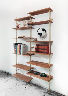 brass steel shelves DIY