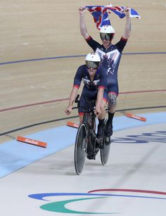 Steve Bate and Adam Duggleby of Great Britain celebrate winning the men's B 4000m individual pursuit track cycling on day 1 of the Rio 2016 Paralympic Games at the Olympic Velodrome on September 8, 2016 in Rio de Janeiro, Brazil.