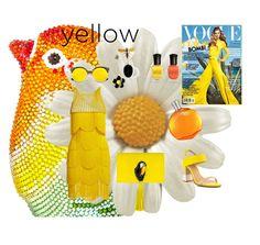 """yellow"" by ks-sk ❤ liked on Polyvore featuring Naeem Khan, ALDO, Nach Bijoux, Deborah Lippmann, Hermès and ZeroUV"