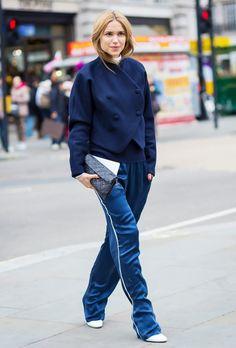 Style a tailored jacket with similarly hued tuxedo pants like Pernille Teisbaek