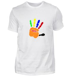 Bunte Hand. Schönes, kreatives Geschenk T-Shirt Bunt, Logos, Mens Tops, Fashion, Creative Gifts, Nice Asses, Moda, Fashion Styles, A Logo