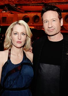 "stellagbson: ""  Gillian Anderson and David Duchovny at the after party for the premiere of Fox's ""The X-Files"" at the California Science Center on January 12, 2016 in Los Angeles, California. """